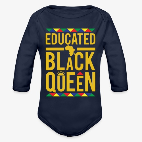 Educated Black Queen - Organic Long Sleeve Baby Bodysuit