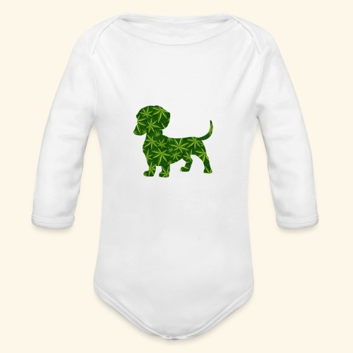 PUFFY DOG - PRESENT FOR SMOKING DOGLOVER - Organic Long Sleeve Baby Bodysuit