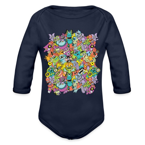 Aliens of the universe posing in a pattern design - Organic Long Sleeve Baby Bodysuit