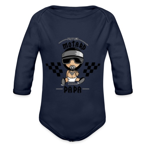 futur motard comme papa - Organic Long Sleeve Baby Bodysuit