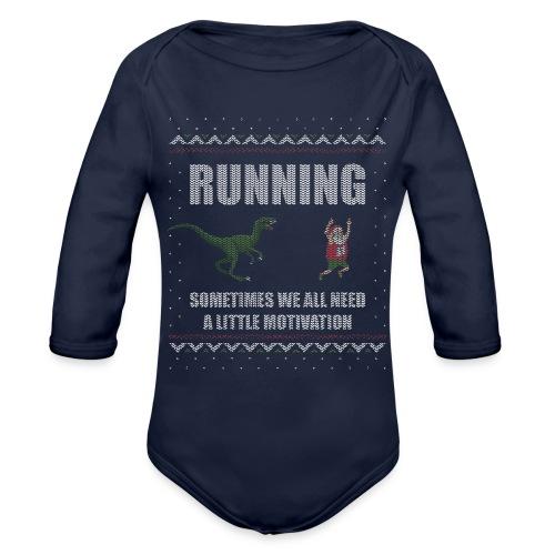 Ugly Christmas Sweater Running Dino and Santa - Organic Long Sleeve Baby Bodysuit