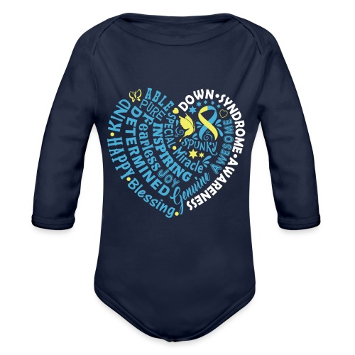 Heart Wordle - Organic Long Sleeve Baby Bodysuit