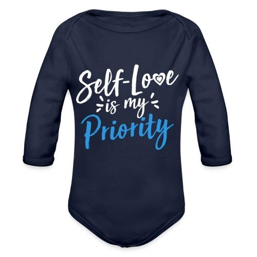 Self-Love is My Priority Shirt Design - Organic Long Sleeve Baby Bodysuit