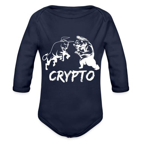 CryptoBattle White - Organic Long Sleeve Baby Bodysuit