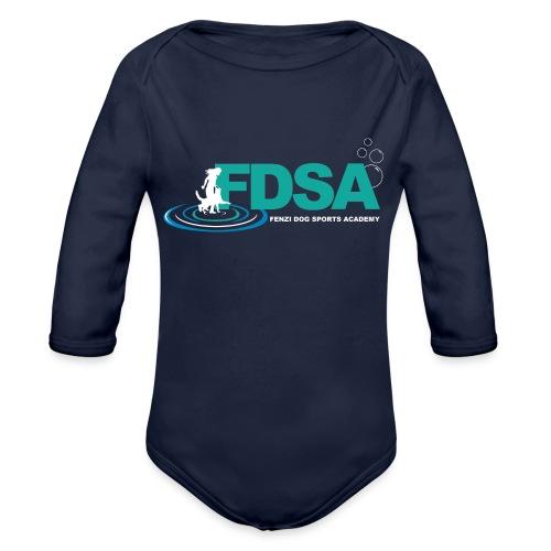 FDSA Teal Ripple - Organic Long Sleeve Baby Bodysuit