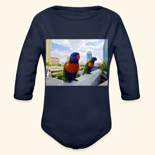 bird of color - Organic Long Sleeve Baby Bodysuit