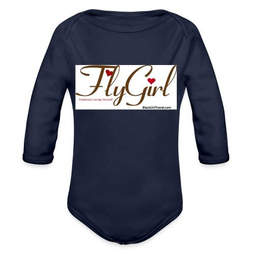 FlyGirlTextGray jpg - Organic Long Sleeve Baby Bodysuit