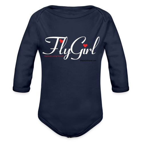 FlyGirlTextWhite W Black png - Organic Long Sleeve Baby Bodysuit