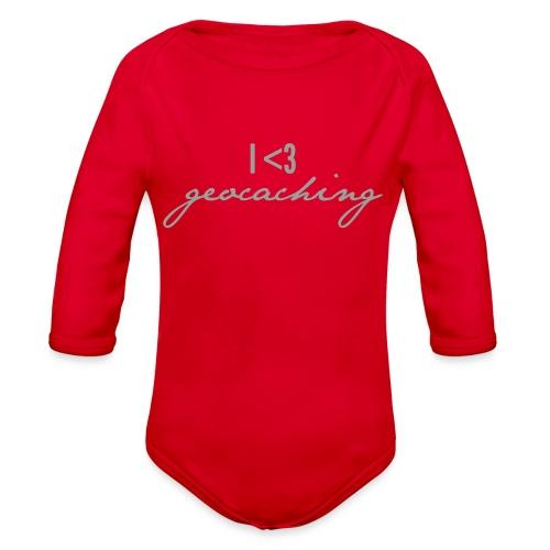 I love geocaching - Organic Long Sleeve Baby Bodysuit