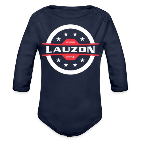 White on Black Lauzon MMA Logo w No Words - Organic Long Sleeve Baby Bodysuit