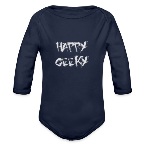 Happy_Geeky_-_Logo_White - Organic Long Sleeve Baby Bodysuit