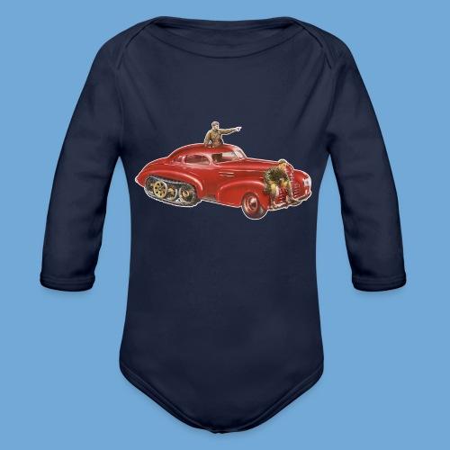 Red Halftrack Coupe - Organic Long Sleeve Baby Bodysuit