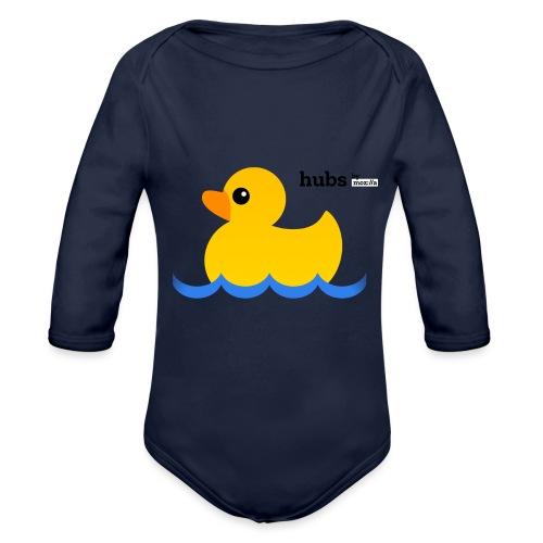 Hubs Duck - Wordmark and Water - Organic Long Sleeve Baby Bodysuit