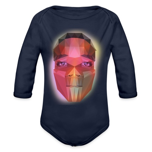 low poly face - Organic Long Sleeve Baby Bodysuit