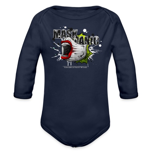 mask panic - Organic Long Sleeve Baby Bodysuit