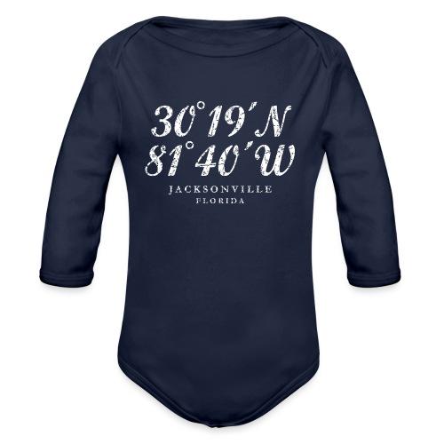 Jacksonville, Florida Coordinates (Ancient White) - Organic Long Sleeve Baby Bodysuit