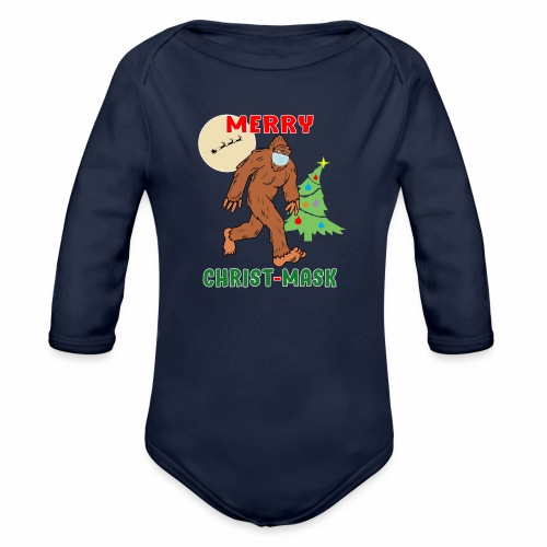 Merry Christmask Sasquatch Mask Social Distance. - Organic Long Sleeve Baby Bodysuit
