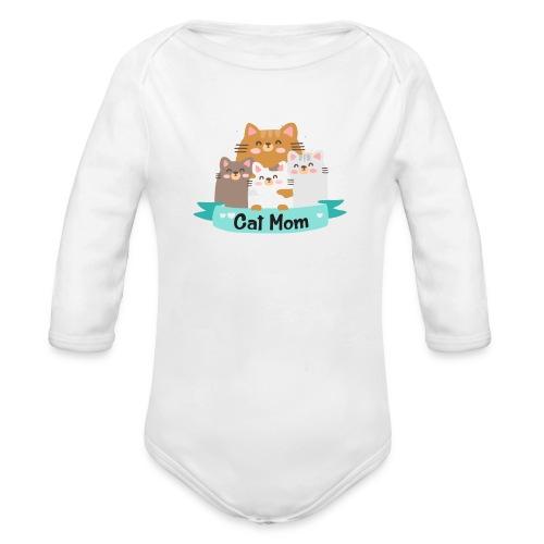 Cat MOM, Cat Mother, Cat Mum, Mother's Day - Organic Long Sleeve Baby Bodysuit