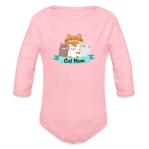 Cat MOM, Cat Mother, Cat Mum, Mother's Day - Organic Long Sleeve Baby Bodysuit