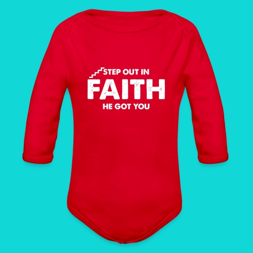 Step Out In Faith - Organic Long Sleeve Baby Bodysuit