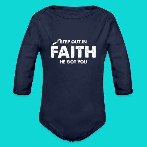 Step Out In Faith - Organic Long Sleeve Baby Bodysuit