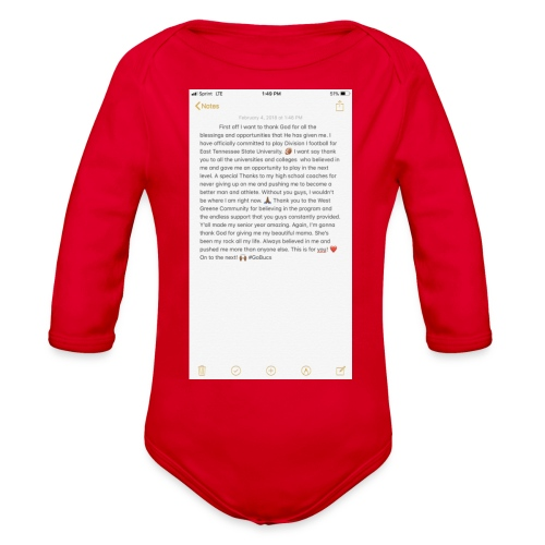 Text from a Football Commit - Organic Long Sleeve Baby Bodysuit