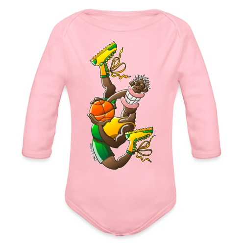 Acrobatic basketball player performing a high jump - Organic Long Sleeve Baby Bodysuit