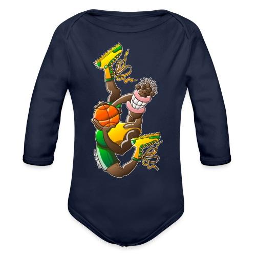 Acrobatic basketball player performing a high jump - Organic Long Sleeve Baby Bodysuit