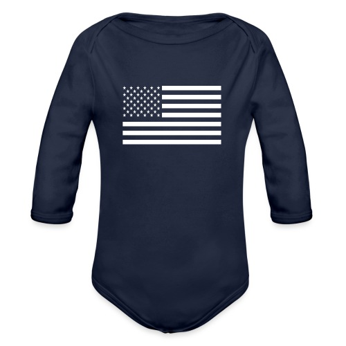 USA American Flag - Organic Long Sleeve Baby Bodysuit
