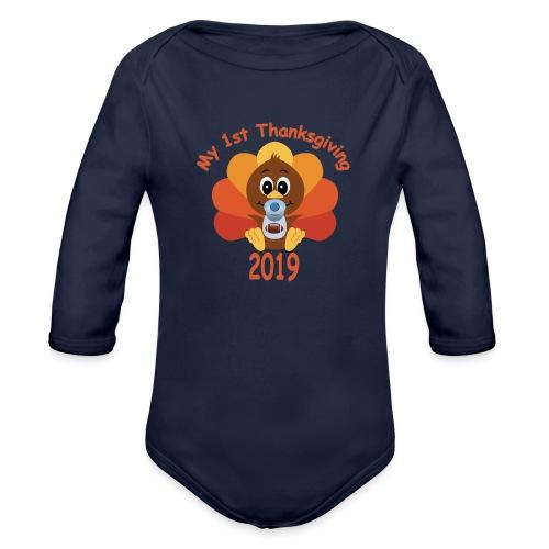 1st Thanksgiving boy - Organic Long Sleeve Baby Bodysuit