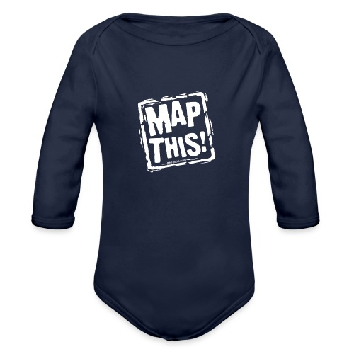 MapThis! White Stamp Logo - Organic Long Sleeve Baby Bodysuit