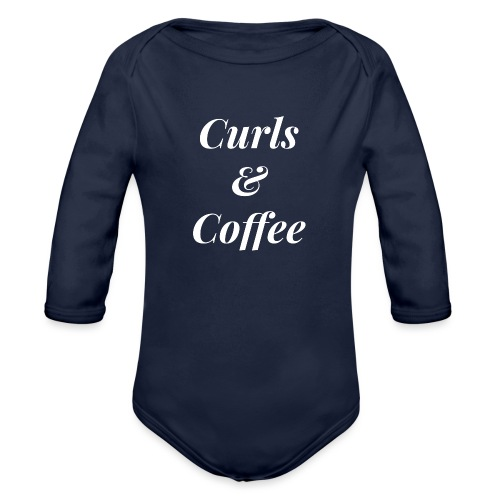 curls and coffee - Organic Long Sleeve Baby Bodysuit