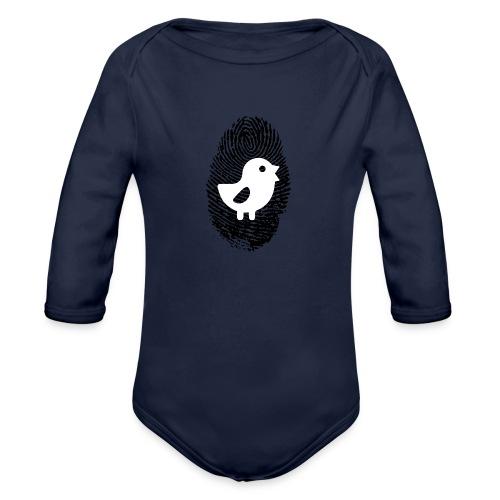 Chick Finger Print - Organic Long Sleeve Baby Bodysuit