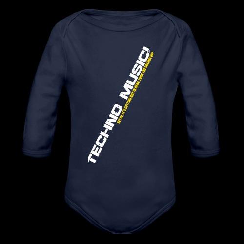 Techno Music.. Hey DJ.. - Organic Long Sleeve Baby Bodysuit
