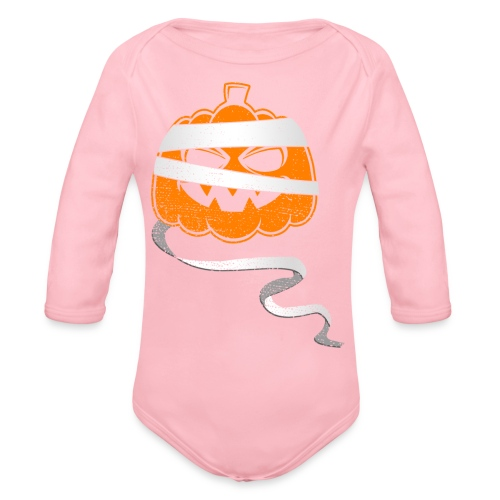 Halloween Bandaged Pumpkin - Organic Long Sleeve Baby Bodysuit