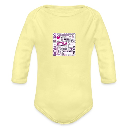 fashion word collage - Organic Long Sleeve Baby Bodysuit