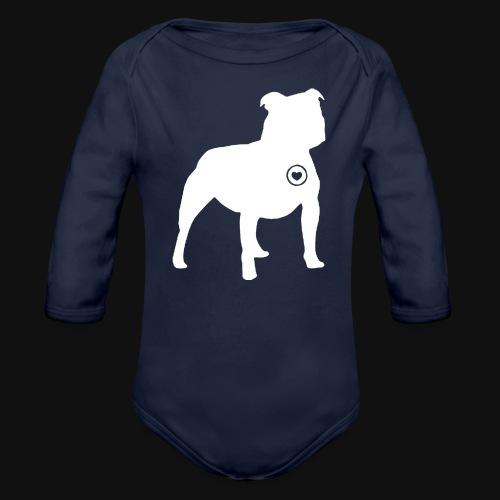 Staffy love - Organic Long Sleeve Baby Bodysuit