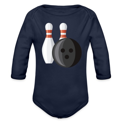 Bowling Ball and Pins - Organic Long Sleeve Baby Bodysuit