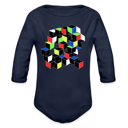 Optical Illusion Shirt - Cubes in 6 colors- Cubist - Organic Long Sleeve Baby Bodysuit