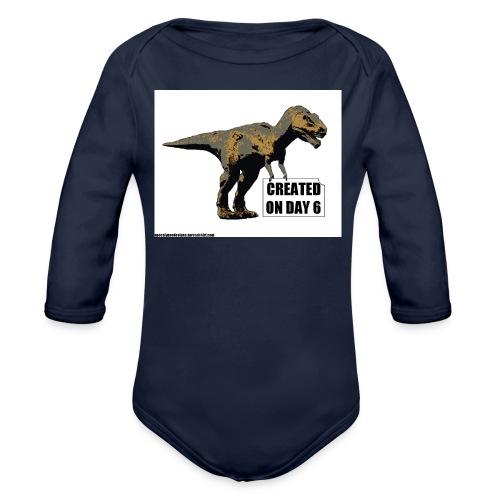 trex day 6 tshirt - Organic Long Sleeve Baby Bodysuit