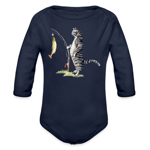 Cat with Fish by Goosi - Organic Long Sleeve Baby Bodysuit