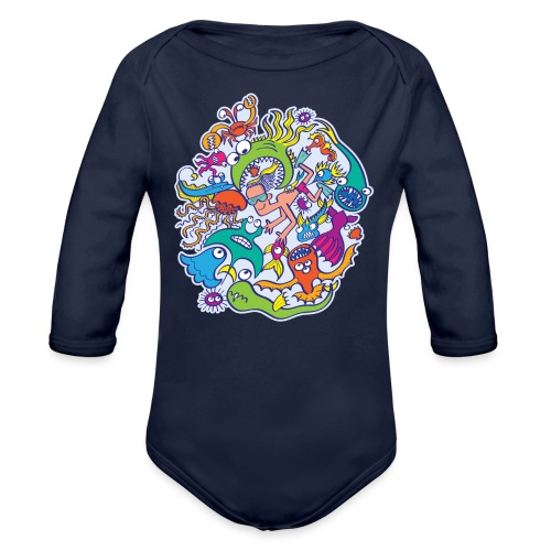 Summer swimming with weird dangerous sea creatures - Organic Long Sleeve Baby Bodysuit