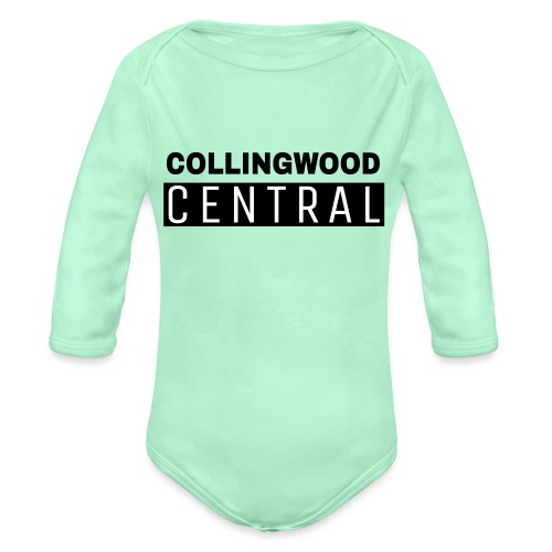 BLK Collingwood Central Logo - Organic Long Sleeve Baby Bodysuit