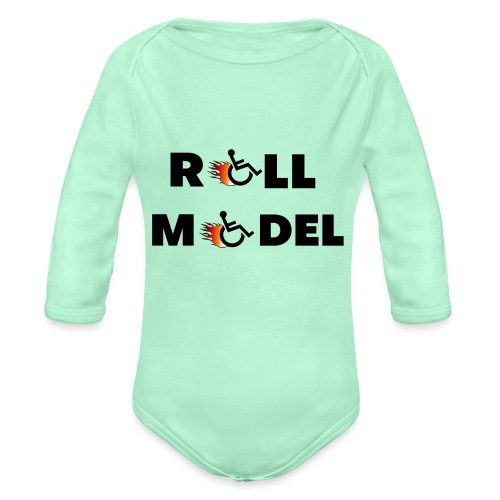 Roll model in a wheelchair, for wheelchair users - Organic Long Sleeve Baby Bodysuit