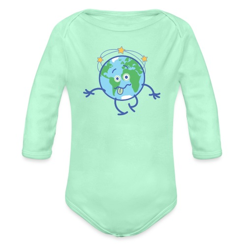 Cartoon Earth walking unsteadily and feeling dizzy - Organic Long Sleeve Baby Bodysuit