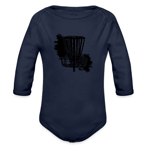Disc Golf Basket Paint Black Print - Organic Long Sleeve Baby Bodysuit