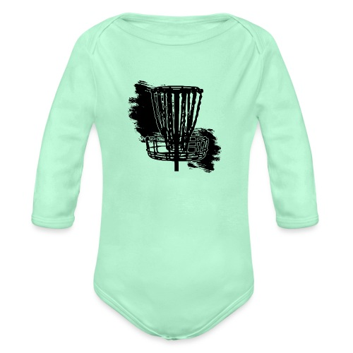 Disc Golf Basket Paint Black Print - Organic Long Sleeve Baby Bodysuit