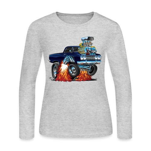 Classic Sixties Muscle Car Cartoon - Women's Long Sleeve Jersey T-Shirt