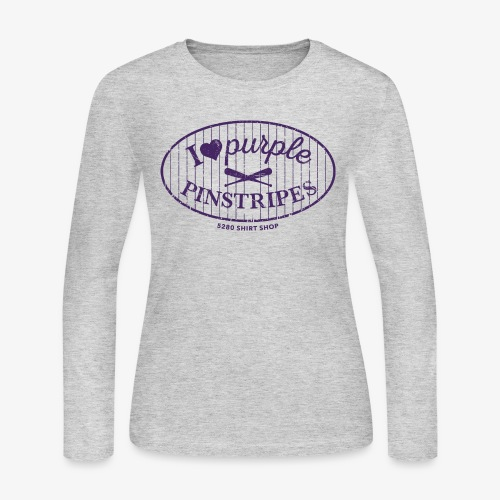 Purple Pinstripes Dark - Women's Long Sleeve Jersey T-Shirt