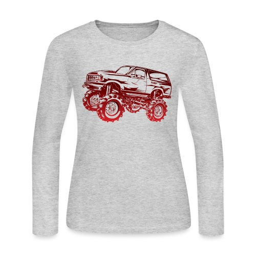 Mega Mud Ford Bronco Red - Women's Long Sleeve Jersey T-Shirt